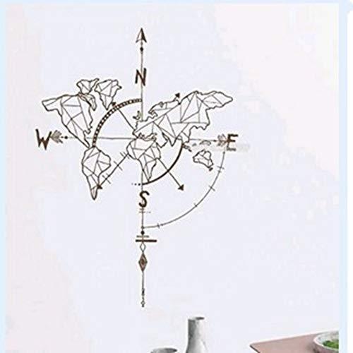 XCGZ Wandsticker Geometrische Karte kompass Sofa Hintergrund bar Restaurant Home Wallpaper Aufkleber DIY entfernbaren Umweltschutz, a3 (Küche Ideen Die Zu Schmücken)