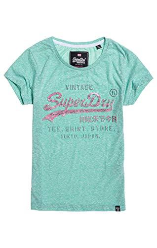 Superdry Damen Pullunder Shirt Shop Infill Emboss Entry, Grün (Mint Rugged Wp5), Medium (Herstellergröße: 12)