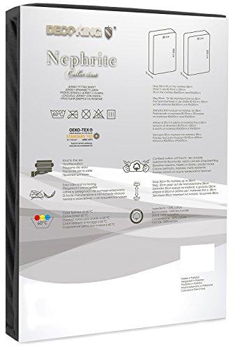 DecoKing 18385 80x200-90x200 cm Spannbettlaken schwarz 100% Baumwolle Jersey Boxspringbett Spannbetttuch Bettlaken Betttuch Black Nephrite Collection - 3