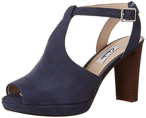 Clarks Kendra Charm, Women's Ankle Strap Pumps, Blue (Navy Suede), 6 UK (39.5 EU)