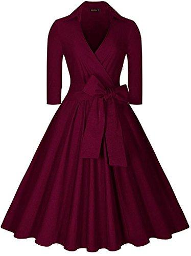EVERY Damen Kleid Elegant Abendkleid Retro Cocktailkleid 3/4 Ärmel V-Ausschnitt 40er 50er Jahr Rockabilly Party Ballkleid Schwarz Dunkelrot (Kleid Billig Mittelalter)