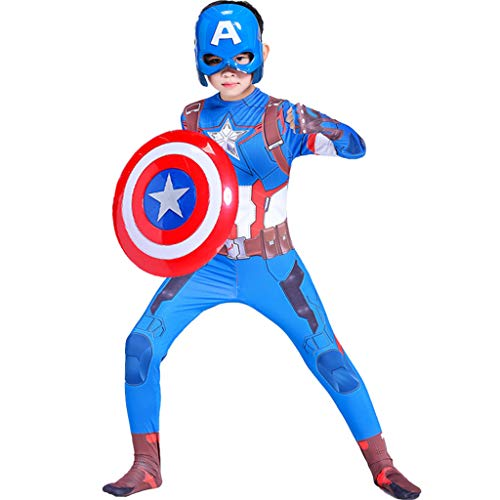 Party Kostüm Motto Superhelden - Yujingc Captain America Cosplay Kostüm Maske Schild Kinder Kostüm Held Kostüm Halloween Weihnachten Body Overalls Kleidung Motto Party Filmrequisiten,Blue,110cm