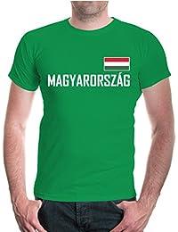buXsbaum® Herren Unisex Kurzarm T-Shirt Ungarn Hungary Ländershirt Fanshirt Fußball