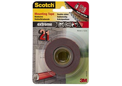 Scotch nastro biadesivo permanente per montaggio extra-forte, 19 mm x 1.5 m, grigio