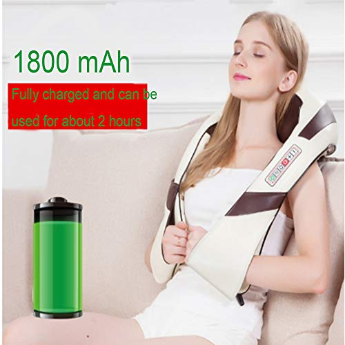 HGBKJUO Elektrisch Massagegerät, Schulter Massagegerät Shiatsu für Nacken Rücken 3D-Rotation mit Wärmefunktio Massage für Haus Büro Auto Kabellos Massagegerät,Charging (3d-rücken-massagegerät)