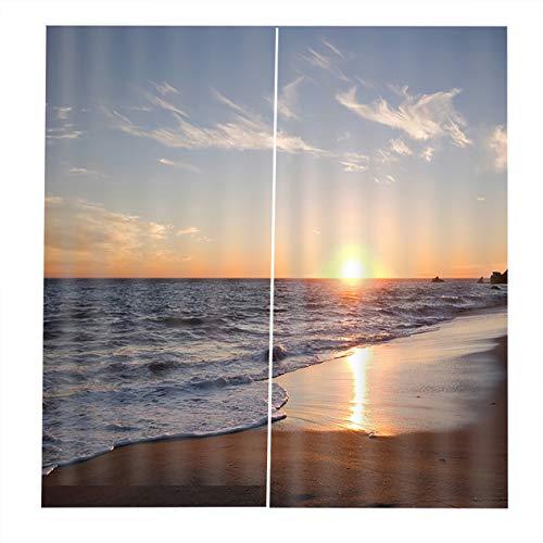 EdBerk74 150 * 166 cortinas para la sala de Estar Dormitorio Cortinas Sunset by The Sea Impreso Sombrilla Jardín Estilo-Color