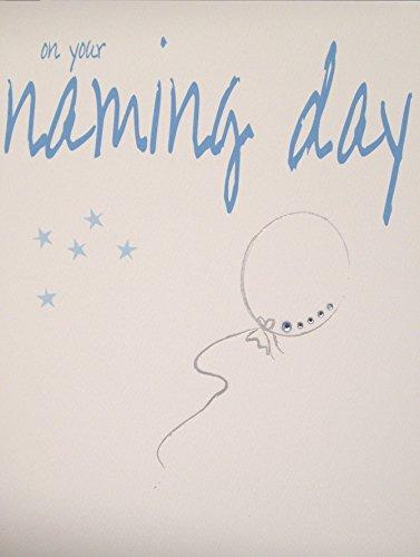 White Cotton Cards - Biglietto di auguri per battesimo, con palloncino azzurro e scritta in lingua inglese