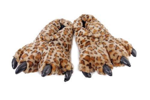 Wishpets Furry Leopard Tier Hausschuhe (Braun/Hellbraun), Braun - Leopard - Größe: M Furry Leopard