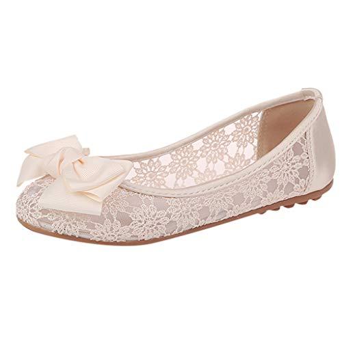 DOLDOA Sommerturnschuhe,Frauen-Ineinander greifen-hohler Flacher Mund-Flacher Unterseiten-Satz-Fuß-einzelne Schuhe Dame Shoes (40 EU, Beige)