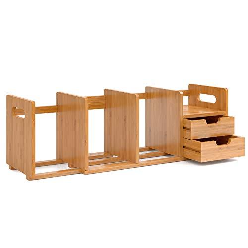 tisch Organizer Aufbewahrungsbox Organisation Briefablage Bücher Organizer Stifteköcher Schreibtisch Zubehör Stiftehalter ausziehbar 50-80x19x20cm(BxTxH) ()