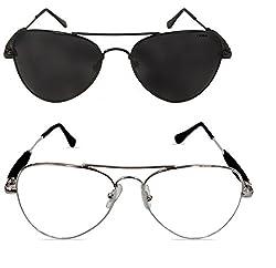 Criba Combo Of 2 Black (Black) Silver (Clear) Unisex Modish & Attractive Sunglasses_ aviator funky blk blk+slvr clr_CRLK20