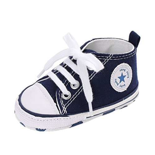Auxma Zapatos para bebé zapatilla de deporte antideslizante del zapato de lona de la zapatilla de deporte Para 3-6 6-12 12-18 M (3-6 M, Azul)