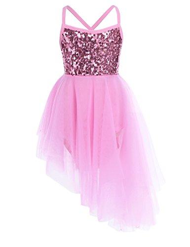 (iixpin Mädchen Ballett Pailletten Kleider Kinder Ballett Trikot Ballettanzug mit Tütü Röck Kleid Tanz Kostüm, 2-12 Jahre Rosa 122-128)