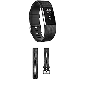 Fitbit Charge 2 Activity Tracker with Wrist Based Heart Rate Monitor, Black/Small withFitBit FB160SBBUS Charge 2 Sports Accessory Band, Cobalt/Small