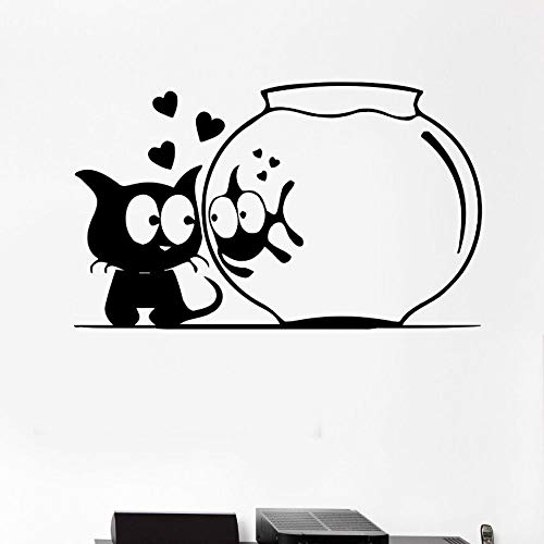 Decorazioni per la casa pesce gatto acquario adesivi murali animali divertenti adesivi murali camera dei bambini arte murale camera da letto temporanea carta da parati nera 42x26cm