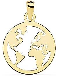 db48c552c88e Alda Joyeros Colgante Flat World Oro Amarillo 18 Kilates (750) 15 mm Collar  Mundo