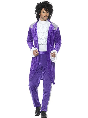 Smiffys, Herren 80er Jahre Lila Musikant Kostüm, Jacke, Oberteil und Hose, Größe: L, (Hose Kostüme Lila)