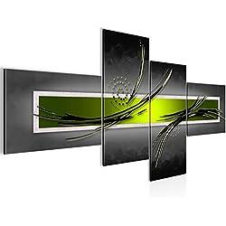 Bilder Abstrakt Wandbild 200 x 100 cm Vlies - Leinwand Bild XXL Format Wandbilder Wohnzimmer Wohnung Deko Kunstdrucke Grün Grau 4 Teilig - MADE IN GERMANY - Fertig zum Aufhängen 102541b