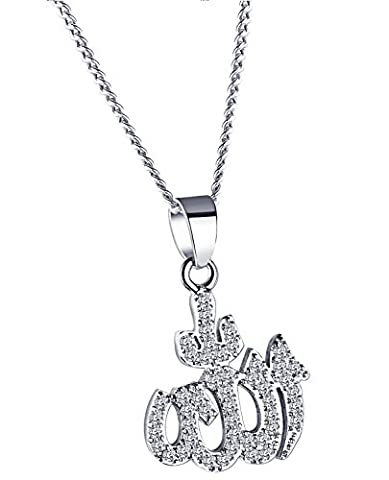 ALEXTINA Damen Arabisch Muslim Schmuck Vereist Aus Kubisch Zirkonia Allah Anhänger Halsband Halskette Silber Ton