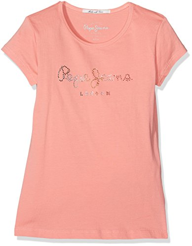 pepe-jeans-carol-jr-t-shirt-fille-rose-bright-coral-fr-14-ans-taille-fabricant-14