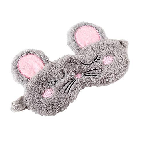 Fansi 1 x süße Cartoon-Augenmaske, Plüsch, Maus, Styling, für den Winter, Schattierung, Schlafmaske mit verstellbarem Riemen, ideal für Frauen und Kinder (Maus)