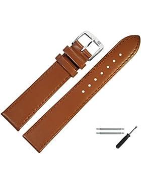 Uhrenarmband 20mm Leder Braun, Feines Echtes Rindleder - Marburger Uhrband Inkl. Federstege / Werkzeug - Passend...