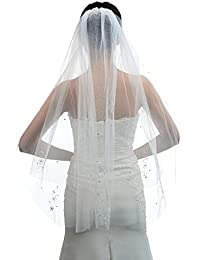 Topwedding Ivoire 2 niveaux bout des doigts Longueur Voile Voile de mariage avec Perles et Fleurs