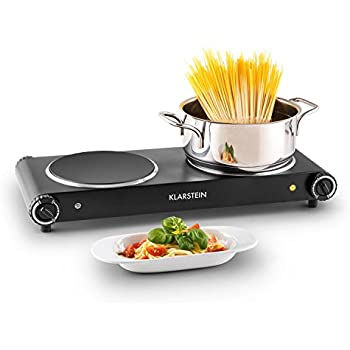 Klarstein Captain Cook² plaques de cuisson électrique (taille compacte, puissance 2400W, chauffe rapide, temperature réglable 60 - 240°C, minuterie, tactile) - noir
