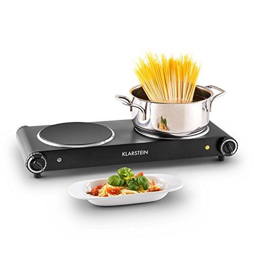 Klarstein Captain Cook² plaques de cuisson électrique (taille compacte, puissance 2400W, chauffe rapide, temperature réglable 60 - 240°C, minuterie, t...