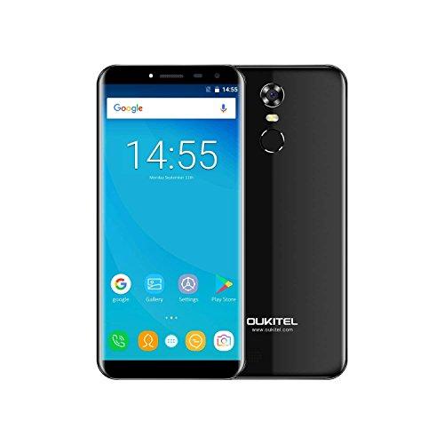 OUKITEL C8 - 5.5 pollici (rapporto 18: 9 visione completa) smartphone Android 7.0 3G, batteria 3000mAh, quad core da 1.3GHz 2GB di RAM 16GB ROM, Fotocamera da 5MP + 13MP, impronte digitali - nera