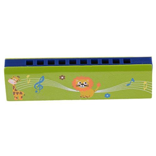 Sharplace 10 Löcher Mundharmonika Blasinstrumente Spielzeug Geschenk für Kinder - Grün
