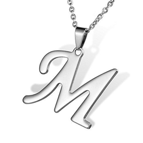 """HOUSWEETY Collier Pendentif Lettre Initial """"M"""" Alphabet Nom Prenom en en Acier Inoxydable pour Homme et Femme"""
