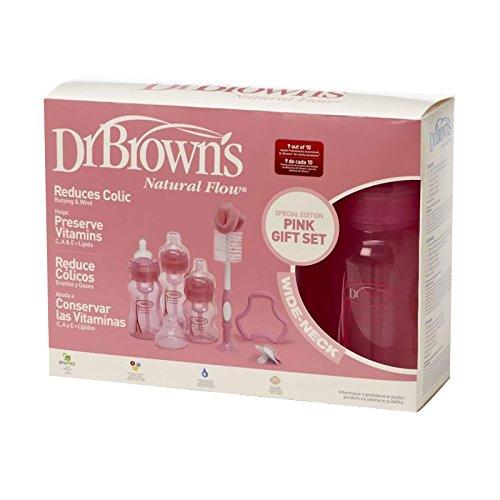Dr Brown's - Juego de biberones con chupete y limpiador para bebés, color rosa