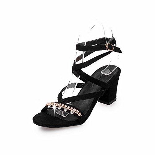 VogueZone009 Donna Plastica Punta Aperta Plastica Puro Tacco Medio Heeled-Sandals Nero