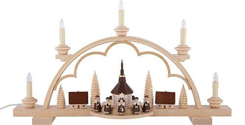 DREGENO Schwibbogen mit Kirche und Kurrende, elektrisch beleuchtet, von DREGENO SEIFFEN 57 cm - Original erzgebirgische Handarbeit -
