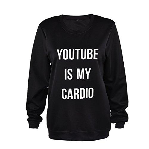 Jiayiqi carta semplice stampa maniche lunghe Felpa formato delle donne S-XL Il mio cardiologo è Youtube (Youtube is My Cardio) M