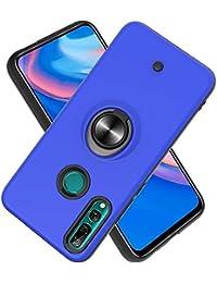 Funda para Huawei P Smart Z / Y9 Prime (2019) Soft TPU + Duro PC Doble Parachoques,Giroscopio Rotatorio,Botón de Descompresión, con Soporte de Anillo Funda Protectora Serie -Azul Marino