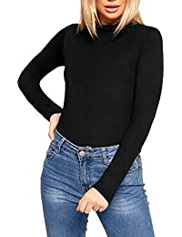 402390fd3908b New Womens Plain Turtle Polo Roll Neck Ladies Long Sleeve Stretch T-Shirt  Tee Top