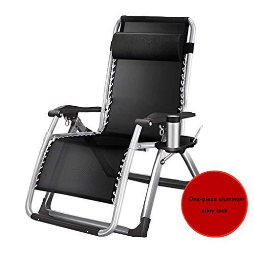 WJJJ Patio Stuhl Schwerelosigkeit Outdoor Stuhl Einstellbare Klappverriegelung Lounge Stühle Single Camp Bett Büro Siesta Deck Deck Bett (Farbe: Schwarz1, Größe: 72 cm) (Deck Betten)