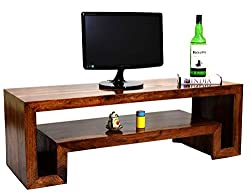 TimberTaste HEMA Solid Wood TV Entertainment Unit (Natural Teak Finish)