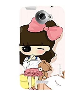 EPICCASE Little girl winking Mobile Back Case Cover For HTC One X (Designer Case)