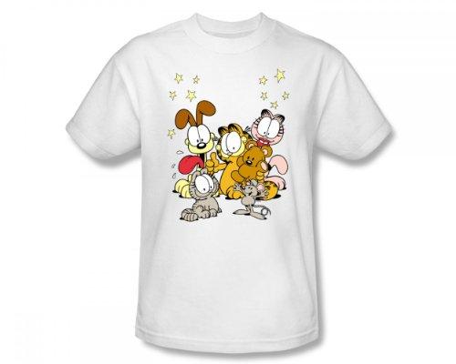 Garfield - Beste Freunde sind Slim Fit Adult T-Shirt in Weiß, XX-Large, White (Adult Freund Besten T-shirt)