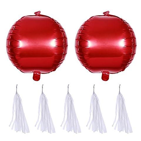 Rote Folienballon mit Quaste TOYMYTOY Heliumballon für Hochzeit Party Valentinstag Baby Dusche Dekoration (2 Stück Ballons + 5 Stück Quaste)