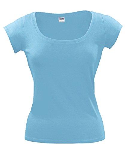 Sols Boat Neck T-Shirt Damen Ausschnitt 100% Baumwolle von noTrash2003® Sky Blue