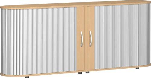Gera Möbel S-382104-BU Sidebord-Rolloschrank Mailand 2 OH mit Standfüßen, 200 x 40 x 83 cm, buche