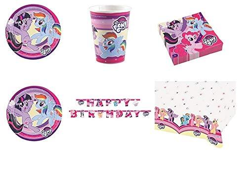 CDC-Kit N ° 13Party und Party My Little pony- Freundschaft ist Magische-(24Teller, 24Gläser, 40Servietten, 1Tischdecke, 1Girlande Wimpelkette) (My Little Pony-freundschaft Ist Magie Geburtstag)