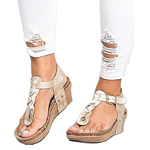 6f57b5c10 Sandalias Mujer Cuña Alpargatas Plataforma Bohemias Romanas Flip Flop Mares  Playa Gladiador Verano Tacon Planas Zapatos