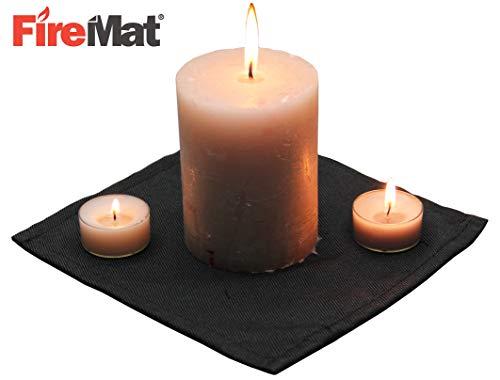 FireMat Black Edition (19x19cm) Brandschutzunterlage, Brandschutz- und Sicherheitsunterlage, Bescheinigt nach DIN EN ISO 11925-2, für Elektrogeräte, Kaffeemaschinen UVM (Bis 300 Grad)