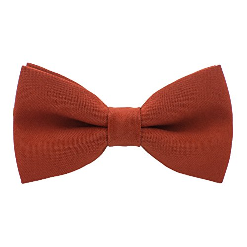 Bow TIe House Classic Pre-Tied Bow Tie Formal Solid Tuxedo, by (Medium, Rust)