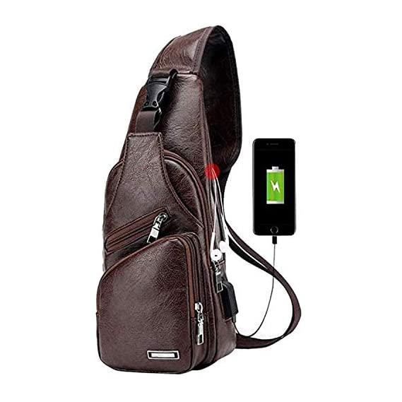 Taslar Travel Crossbody Backpack Shoulder Chest Bag Lightweight with Charging Port for Men Women Boys Girls (Brown)